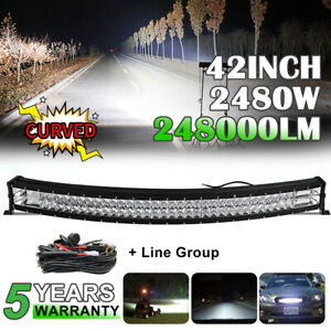 42inch 2480W Curved Led Work Combo Flood Spot Light Bar Driving ATV 4WD PK 40/44