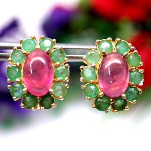 NATURAL PINK RUBY & EMERALD EARRINGS 925 SILVER STERLING