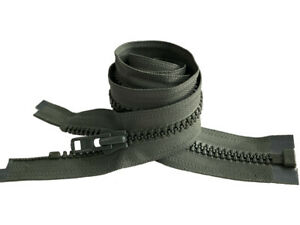 "YKK #8 Molded Plastic Zipper -Vislon Heavy Weight Separating 27"" - 72"" Made USA"