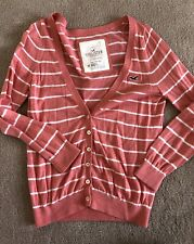 Woman's HOLLISTER Pink White Stripped Sweater Cardigan 3/4 Sleeve Jr Size Medium