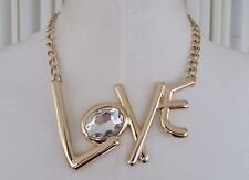 "Betsey Johnson Trolls LOVE Necklace Gold Tone 16"" Adjustable NWT $75"