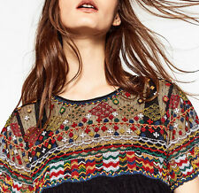 ZARA plumetis Chemisier Tunique broderie Ethnic Embroidered Blouse Tunic Top Size XL
