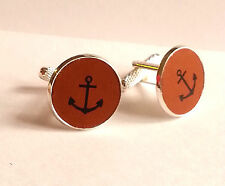 Printed Leather Cufflinks Mens Gift ~Ship Boat Canal Anchor Sail Silver Plated