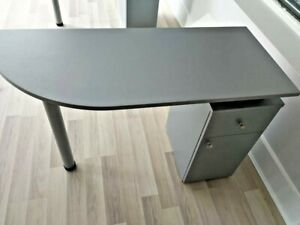 GREY MANICURE TABLE NAIL BAR NAIL DESK METALLIC GREY COLOUR DRAWER DOOR STATION