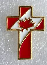 Christian Cross, Canadian Flag pin, gold plate