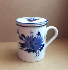 Chinese Characters Blue & White Porcelain Tea Cup Handled Infuser Strainer w/Lid