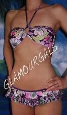 New Rampage Purple & Violet Floral Print Ruffled Bandeau Bikini Sz M / L
