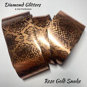 Nail Transfer Foil 1m Gold Animal Print Full Coverage Nail Art Rose Gold Snake
