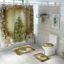 Christmas Tree Bath Shower Curtain Bathroom Mat Lid Toilet Cover Rugs Set