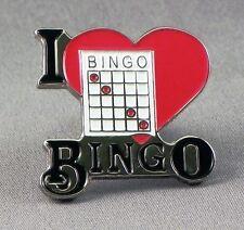 Metal Enamel Pin Badge Brooch I Love Bingo Luv Bingo Love Heart