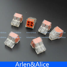 100Pcs PCT-104 Push wire wiring connector 4 pin conductor terminal block