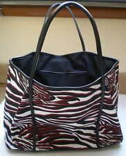Express Red/Wht/Blk Animal Print Leather Trim Painted Canvas Open L Shopper Tote