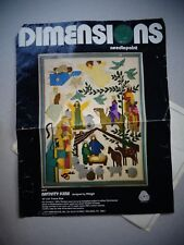 "DIMENSIONS ~ ""Nativity Scene"" by Mayo ~ Needlepoint Kit #2070 ~ 1977 ~ 18"" x 24"""