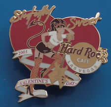 Hard Rock Cafe Metal Pin Badge 2003 Valentines Day Heart Girl Guitar Las Vegas