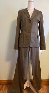 Jil Sander Military Green Cotton Pant Suit 36