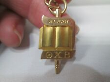 Vintage THETA CHI BETA 10K Gold ALEPHA Fraternity Key Charm Pendant