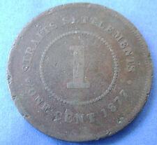 Straits Settlements -  1 cent one cent 1877 Queen Victoria