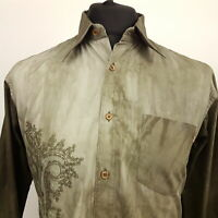 HUGO BOSS Mens Shirt MEDIUM Long Sleeve Green SLIM FIT  Cotton