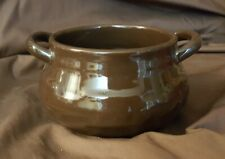 Longaberger Pottery Woven Traditions Chocolate Brown Small Soup Tureen Bowl