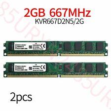 4GB 2x 2G PC2-5300U DDR2 667Mhz 240Pin KVR667D2N5/2G Desktop RAM For Kingston ZT