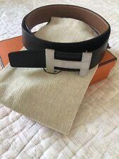 Hermes Leather Black &Brown Reversible Belt With Silver Brushed Matt Buckle Sz80