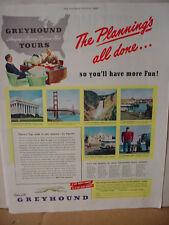 1949 Greyhound Bus Line Golden Gate Bridge Nation Capital Vintage Print Ad 10154