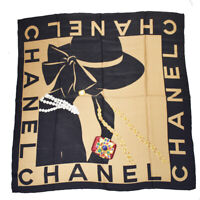 Authentic CHANEL CC XL JUMBO Scarf Handkerchief 100% Silk Brown Italy 04BQ319