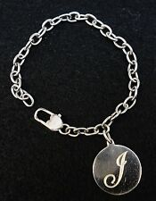 "Stainless Steel 7"" Oval Link Bracelet with ""J"" Initial Charm"