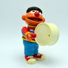 "Vintage Jim Henson Muppet Ernie Wind Up Toy Plays Drum and Moves 7 1/2"" Tall"