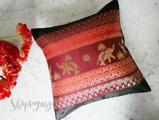 Thaiseide Kissenbezug Kissenhülle 40x40cm Elefant pillow case Schwarz Rot Deko