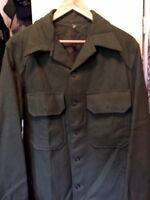 Vintage 50s Korean War US. Army Military Olive Wool Field Combat Uniform Jacket.