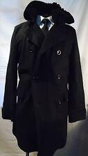 FARHI -LONDON SMART DESIGNER MAN'S BLACK HOODED WINTER COAT S
