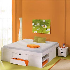 Funktionsbett Kiasa 180x 200cm mit Nachtschränken und Rost Kiefer weiß lackiert