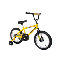 16 in. Boys Bike BMX Bicycle with Training Wheels Black/Yellow Adjustable Seat