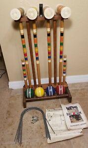 Vintage 1960's Forster Skowhegan 4 Player Croquet Set #R64493 Wood Turned Balls
