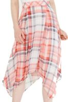 Tommy Hilfiger Womens Skirt Pink Blue Size 6 Plaid Asymmetrical Hem $89 282