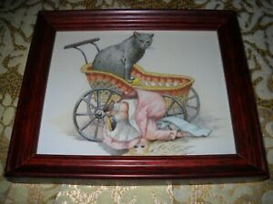 CAT BOOTS DOLLY 5 X 6 SMALL brown WOOD framed animal picture Victorian style art