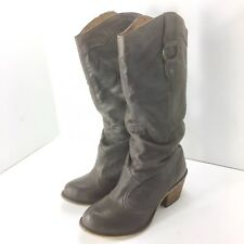 Steve Madden GAMMBBLE 7M Brown Leather Pull On Slouchy Western Boots