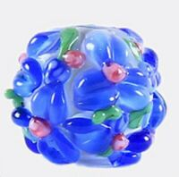 10pcs handmade Lampwork glass round Beads blue flower 15mm