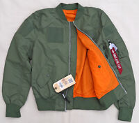 ALPHA INDUSTRIES L2B Flex Flight Bomber Jacket Reversible Sage Orange Men XSmall