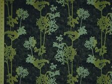 Contemporary Modern Queen Anns Lace floral charcoal gray aqua Upholstery Fabric