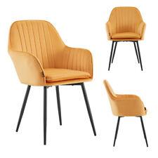 Esszimmerstühle Wohnzimmer Stuhl Armlehnen Polsterstuhl Samt Velvet Sessel Gelb
