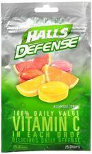 Halls Defense Vitamin C Drops Sugar Free Assorted Citrus 25 Each (Pack of 6)