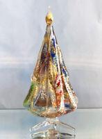 "CHRISTMAS DECORATIONS - MURANO GLASS MILLEFIORI CHRISTMAS TREE - GOLD - 5""H"