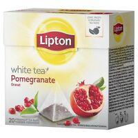 LIPTON White Tea Pomegranate 6 x 20 bags= 120 pyramid tea bags sealed boxes