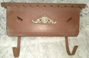 Vintage Metal Hanging Scalloped Lift Top Mailbox w/ Newspaper Roll Hooks