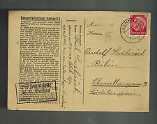 1941 Germany Dachau Concentration Camp w Letter Cover Illich Sedlacek Bilin KZ