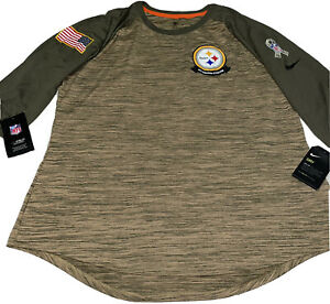 Nike Women's Salute To Service Pittsburgh Steelers 3/4 Sleeve Top Lg AT5962-297