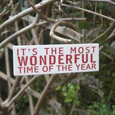 Christmas Hanging Plaque Red Glitter It's The Most Wonderful Time Of The Year
