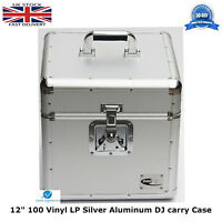 "2 X NEO Aluminium Silver DJ Flight Case to Store 100 Vinyl LP 12"" Records STRONG"